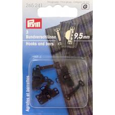Крючки для брюк и юбок чёрные 9,5мм 3шт Prym 265241